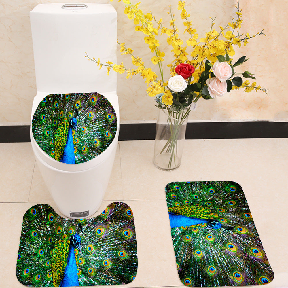 Peacock showing off 3 Piece Toilet Cover Set