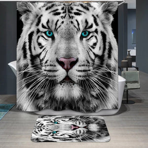 White Siberian tiger face Shower Curtain