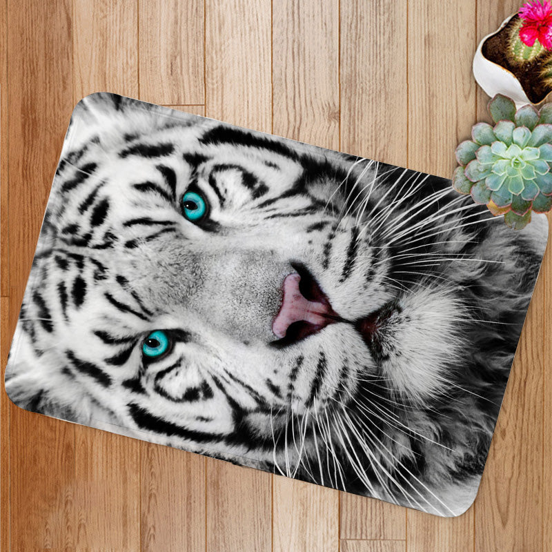 White Siberian tiger face Bath Mat