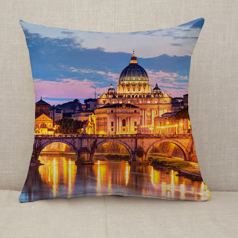 River Tiber in Rome Italy Throw Pillow [With Inserts]