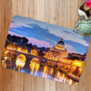 River Tiber in Rome Italy Bath Mat