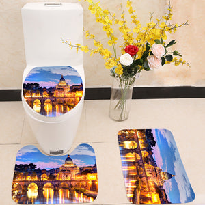 River Tiber in Rome Italy 3 Piece Toilet Cover Set