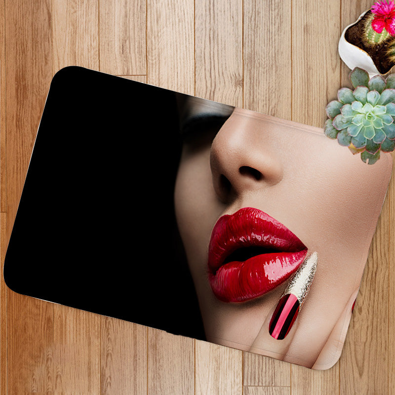 Red Nails and Lips Bath Mat
