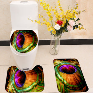 Peacock Feather 3 Piece Toilet Cover Set