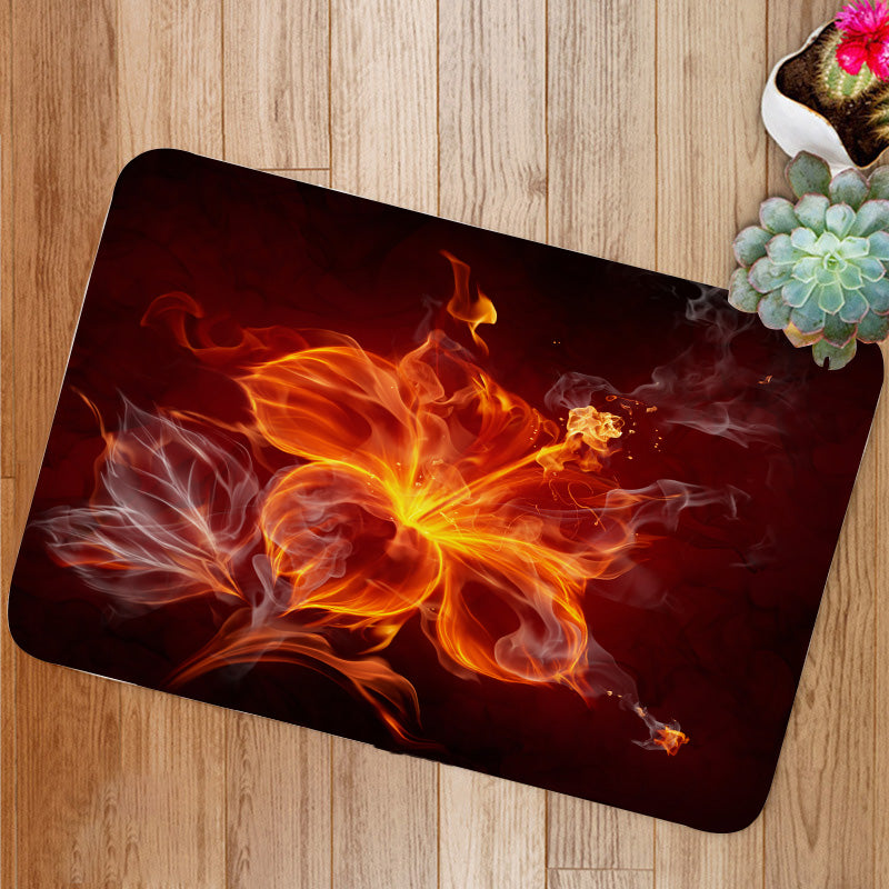 Burning fire hibiscus flower Bath Mat