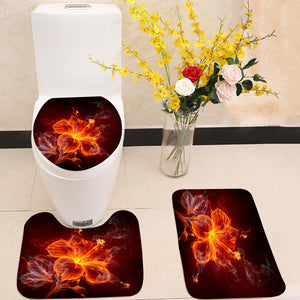 Burning fire hibiscus flower 3 Piece Toilet Cover Set