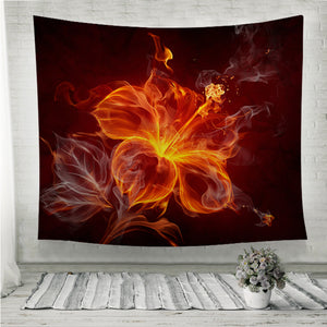 Burning fire hibiscus flower Wall Tapestry