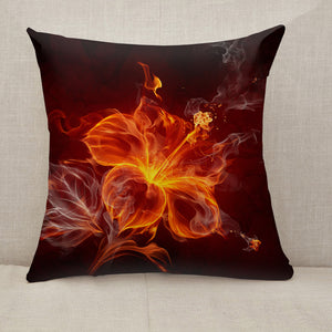 Burning fire hibiscus flower Throw Pillow [With Inserts]