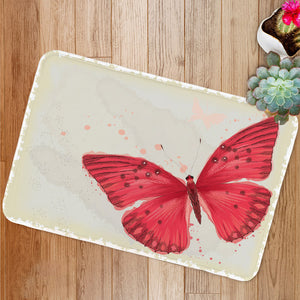 Red butterfly flower Bath Mat