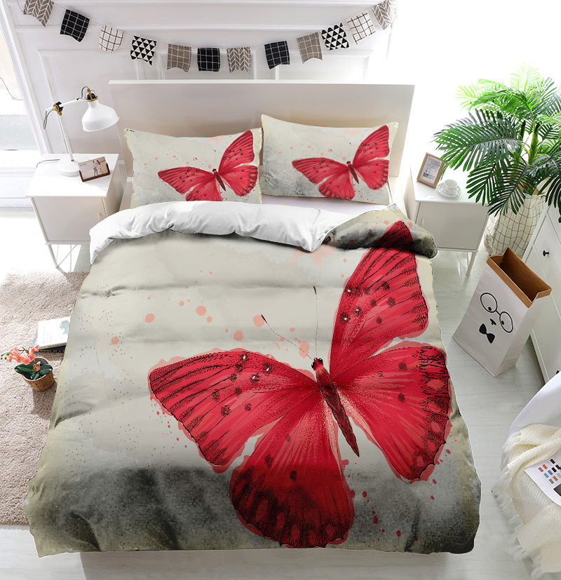 Red butterfly Duvet Cover Bedding Set