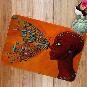 Butterfly and girl Bath Mat