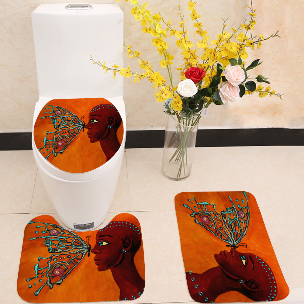 Butterfly and girl 3 Piece Toilet Cover Set