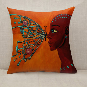Butterfly and girl Throw Pillow [With Inserts]