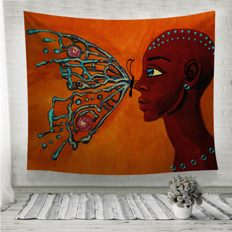 Butterfly and girl Wall Tapestry
