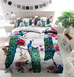 Peacock and flowers Duvet Cover Bedding Set