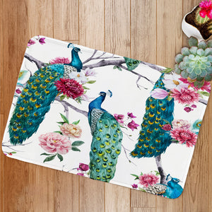 Peacock and flowers Bath Mat