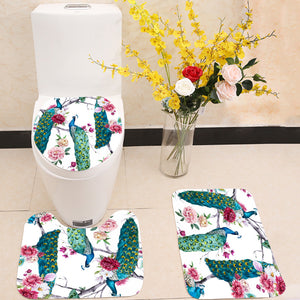 Peacock and flowers 3 Piece Toilet Cover Set