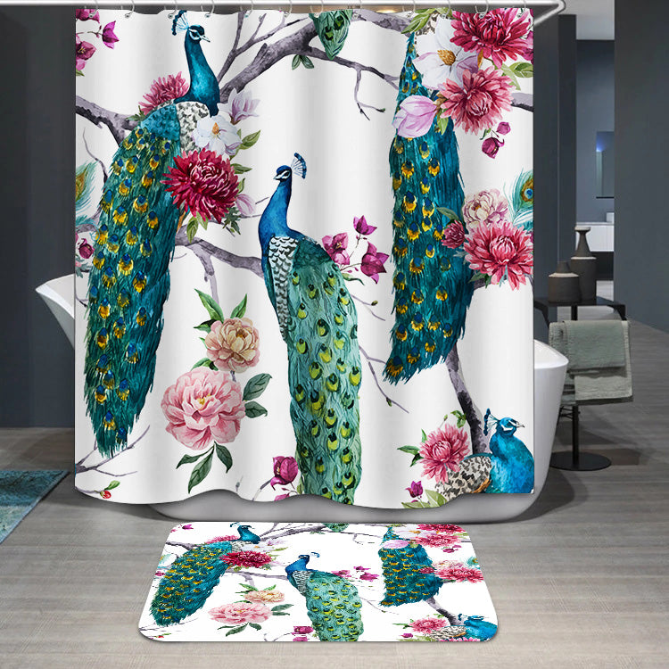 Peacock and flowers Shower Curtain