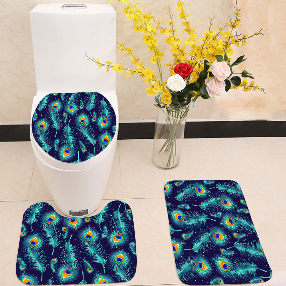 Peacock Feathers 3 Piece Toilet Cover Set Itday