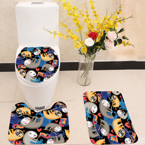 Fun lovers with sloths 3 Piece Toilet Cover Set