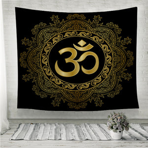 Gold Mantra Om mandala Wall Tapestry