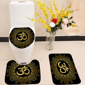 Gold Mantra Om mandala 3 Piece Toilet Cover Set