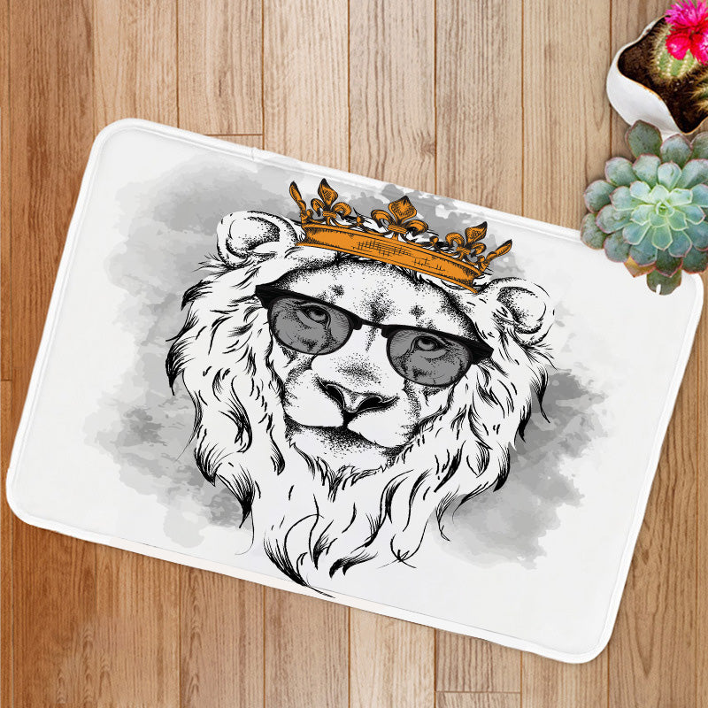 Lion crown glasses Bath Mat
