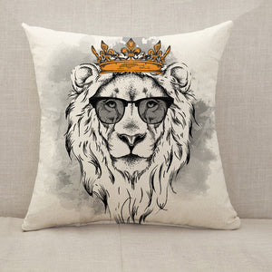 Lion crown glasses Throw Pillow [With Inserts]