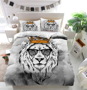 Lion crown glasses Duvet Cover Bedding Set