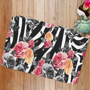 Roses and zebra pattern Bath Mat
