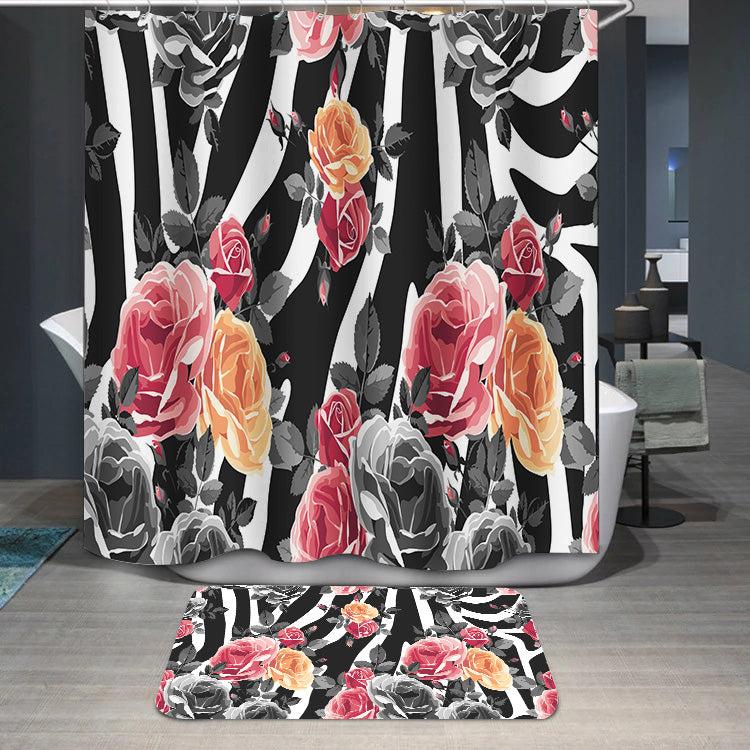 Roses and zebra pattern Shower Curtain