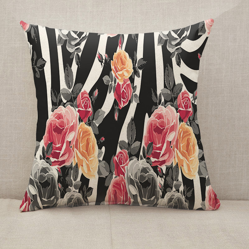 Roses and zebra pattern Throw Pillow [With Inserts]