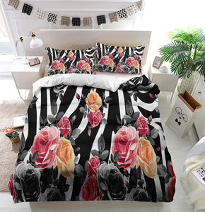 Roses and zebra pattern Duvet Cover Bedding Set