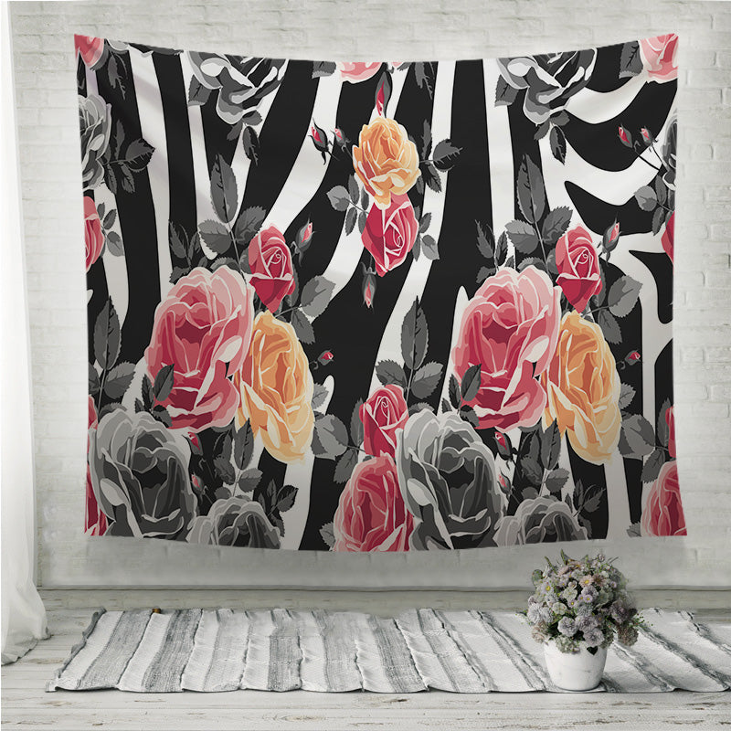Roses and zebra pattern Wall Tapestry