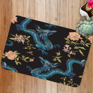 Dragon and gold roses Bath Mat