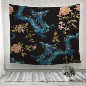 Dragon and gold roses Wall Tapestry