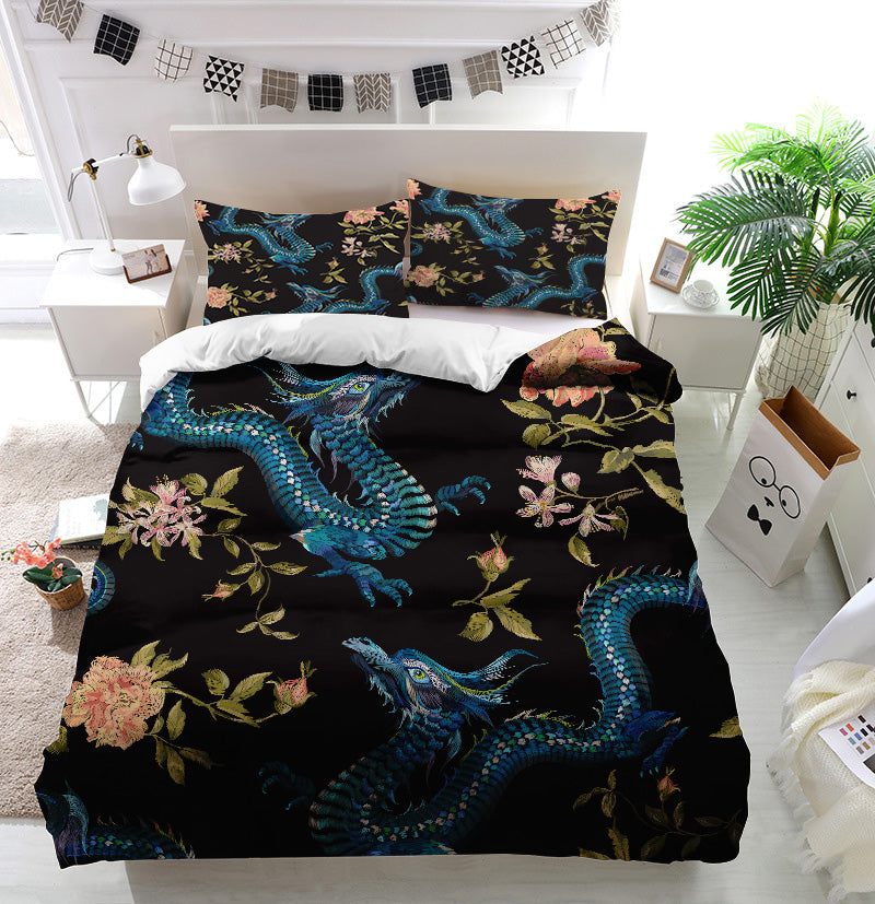 Dragon and gold roses Duvet Cover Bedding Set