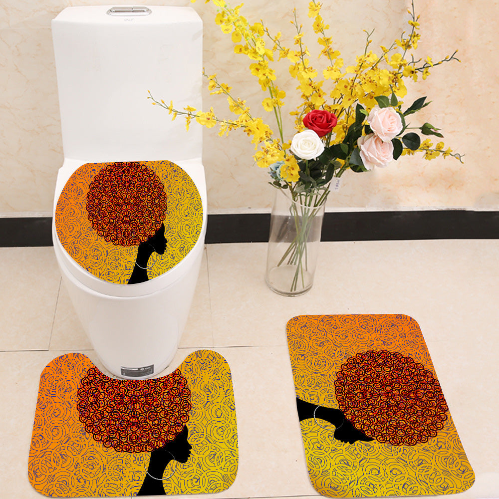 African Women portrait 3 Piece Toilet Cover Set