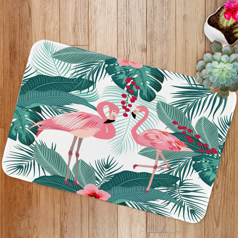 Flamingo and palm tree leaves Bath Mat
