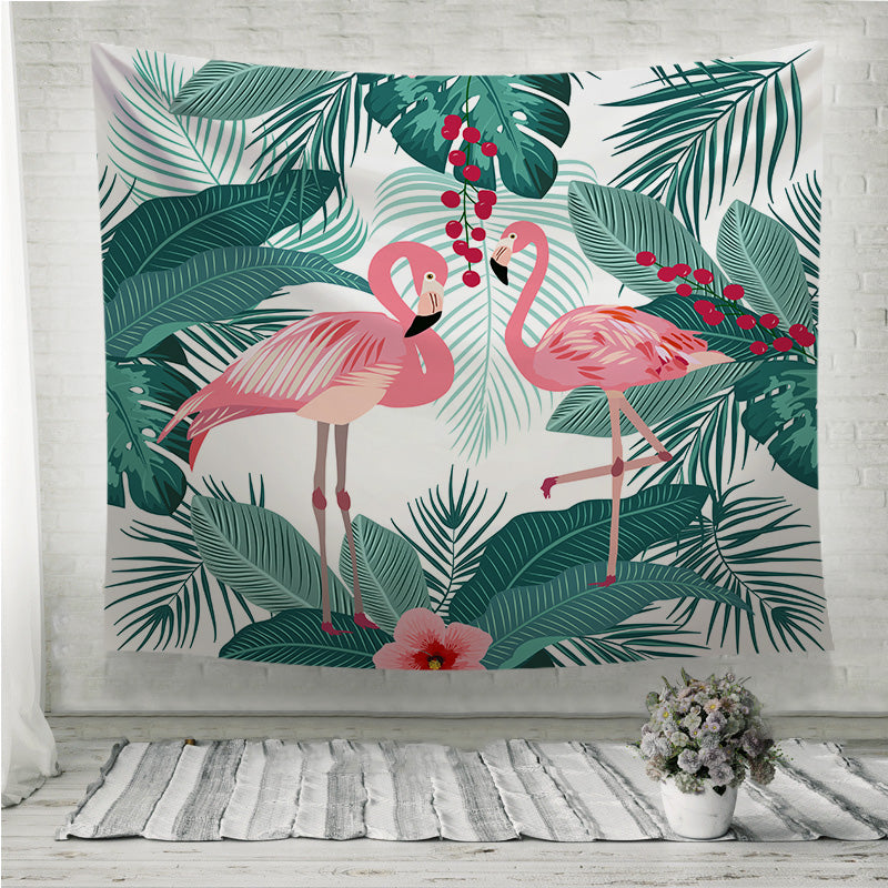 Flamingo and palm tree leaves Wall Tapestry