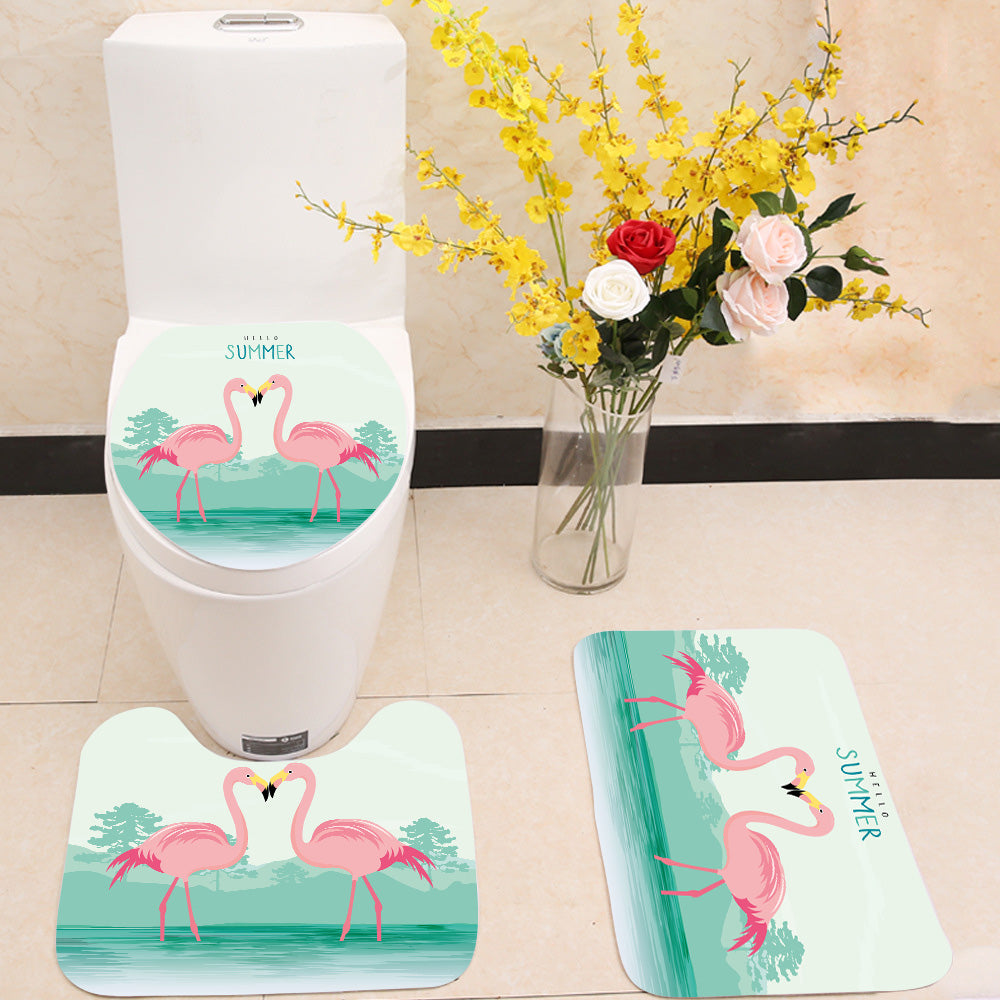 Flamingo Lovers 3 Piece Toilet Cover Set