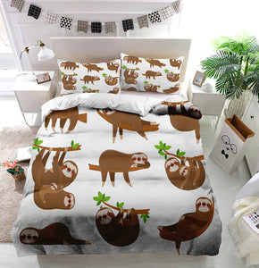 Sloths family Duvet Cover Bedding Set