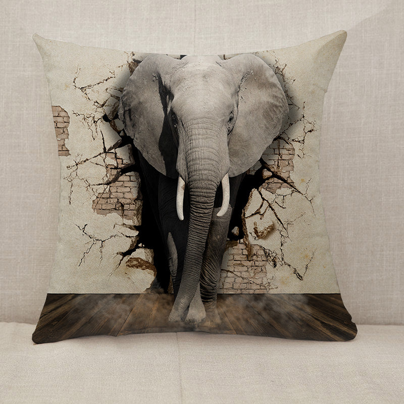 3D elephant wall Throw Pillow [With Inserts]