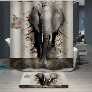 3D elephant wall Shower Curtain