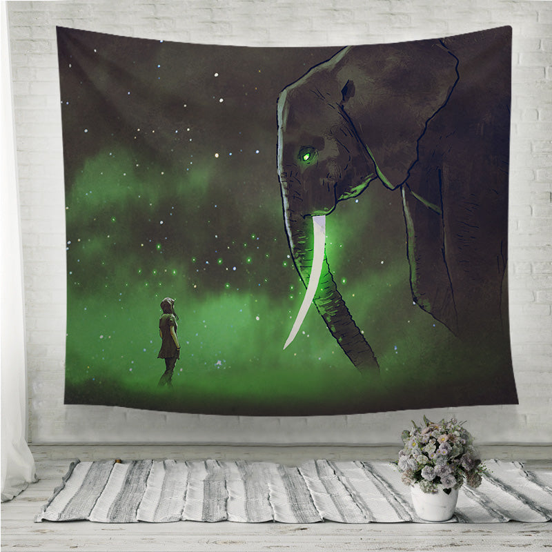 Facing the giant elephant Wall Tapestry