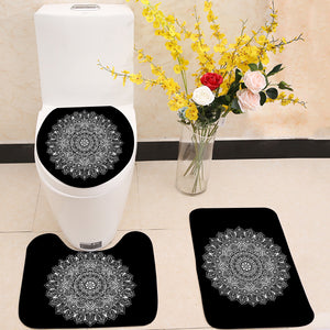 Bohemian Indian Mandala black and white 3 Piece Toilet Cover Set
