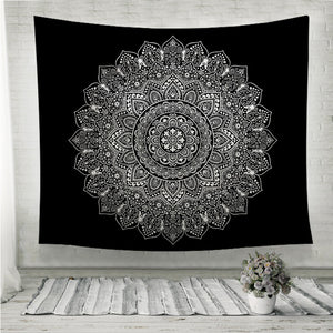 Bohemian Indian Mandala black and white Wall Tapestry