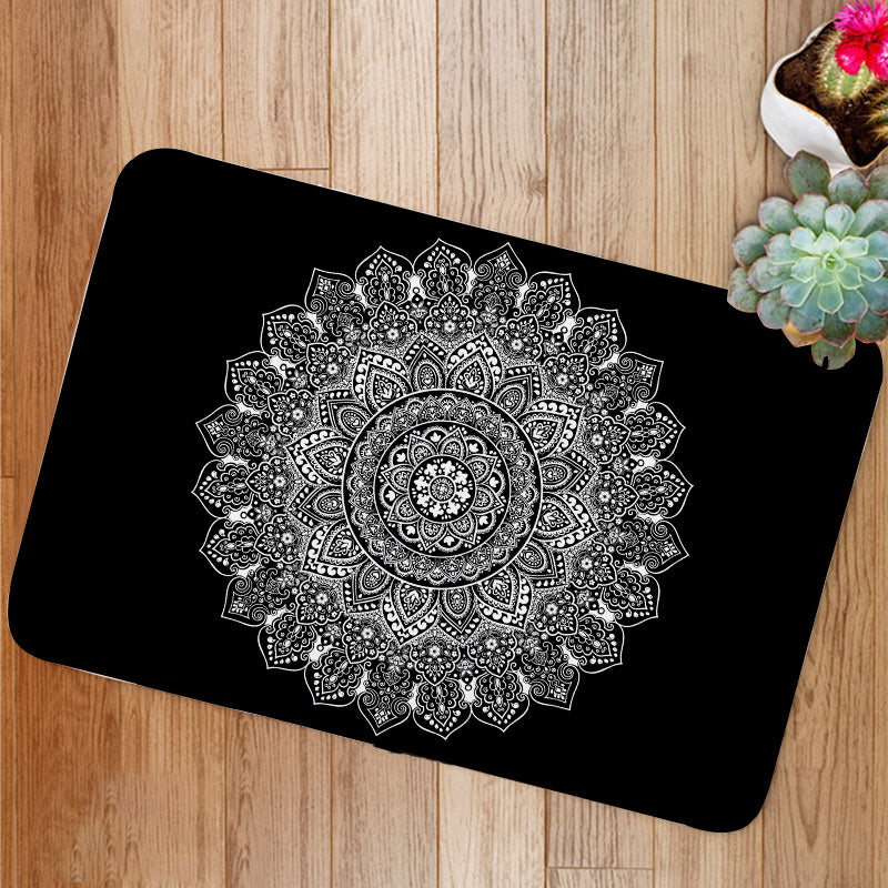 Bohemian Indian Mandala black and white Bath Mat