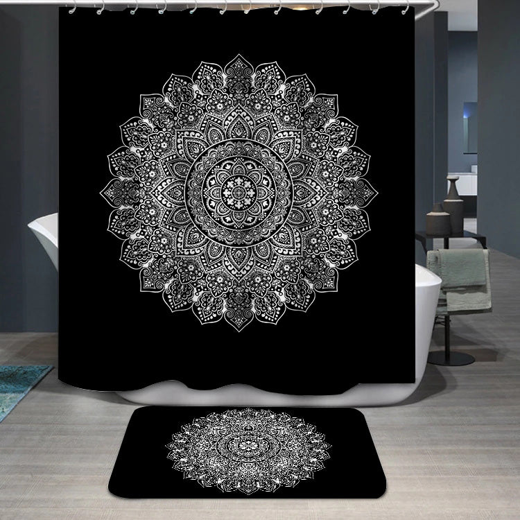 Bohemian Indian Mandala black and white Shower Curtain
