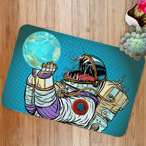 Astronaut monster eats earth Bath Mat